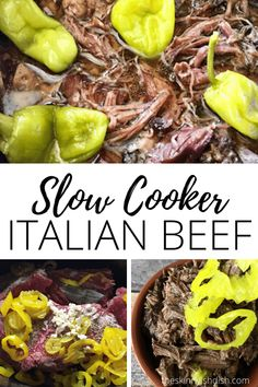 Making this Slow Cooker Italian Beef insures that you will have an easy and delicious dinner that is hands down one of the best dishes of Italian Beef you've ever had. This tender, savory chuck roast cooks all day and gives you the perfect filling for sandwiches that truly are a taste of Chicago right in your own kitchen! #theskinnyishdish #slowcooker #italianbeef Italian Beef Recipes, Slow Cooker Italian Beef, Ww Recipes, Slow Cooker Recipes, Crockpot Recipes, Healthy Recipes, Italian Seasoning Packet, Skinny Taste, How To Make Sandwich