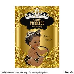Little Princess is on her way Baby Shower Ethnic 5x7 Paper Invitation Card