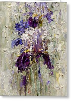 Iris Greeting Card by Oleg Trofimoff