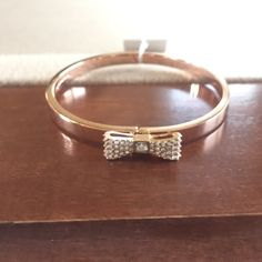 Kate Spade Pave Bow Rose Gold Tone Bangle Authentic Kate Spade Rose Gold Tone Pave Bow Hinged Bangle With Pouch kate spade Jewelry Bracelets