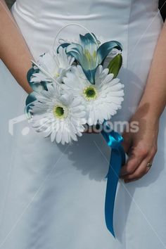 wedding bouquet lily | White Easter Lily Bridal Bouquet with Aqua Gerberas and Feathers Ivory ...