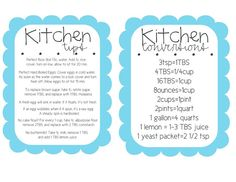 Handy Kitchen Conversion chart to print out and hang inside cupboard.