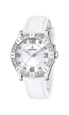 Festina Ladies Watch F16537/1 With White Strap And Cz: Amazon.co.uk: Watches