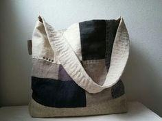 """リネンパッチのワンハンドルショルダー """"haze"""" - t.h.m.1204 Craft Bags, Fabric Bags, Shibori, Pouch, Boro, Purses, Tote Bag, Baskets, Craft Ideas"""