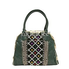 Nicole Lee Megan Check Patterned Quilted Evening Bag,Oliv…
