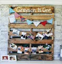 wooden pallet photo garland for a rustic birthday party