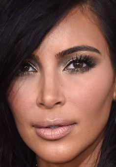Close-up of Kim Kardashian at the 2015 Grammy Awards. http://beautyeditor.ca/2015/02/10/grammys-2015
