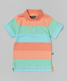 Look at this Coral & Aqua Rugby Stripe Polo - Toddler on #zulily today!