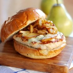 Roasted Pear, Caramelized Onion & Gorgonzola Turkey Burger, elevate your burger!