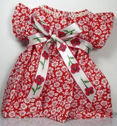 Red and White Flower Doll Dress with Bow by monkeystitches on Etsy