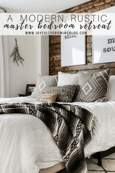 Modern Rustic Bedroom Reveal + Tips on Blending Two Styles - - Today I am sharing all of the details from our rustic-made-modern master bedroom. I've shared a few photos of this space before…. Modern Rustic Bedrooms, Rustic Master Bedroom, Modern Rustic Decor, Farmhouse Bedroom Decor, Home Decor Bedroom, Rustic Style, Rustic Wood, Master Bedrooms, Bedroom Brown