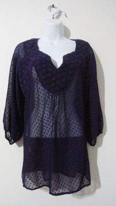 Anthropologie Black Rainn Purple Blouse Sexy Top Shirt Evening Sheer Small S #BlackRainn #Blouse