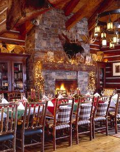 Holiday dinner in the wine room, Stock Farm Club, Hamilton, Montana