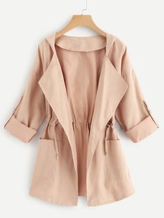 To find out about the Dual Pocket Drawstring Waist Hooded Coat at SHEIN, part of our latest Outerwear ready to shop online today! Fashion News, Fashion Outfits, Womens Fashion, Fashion Trends, Check Coat, Coat Dress, Drawstring Waist, Outerwear Jackets, Clothes