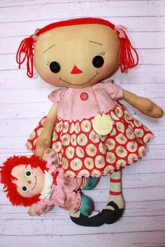 Your place to buy and sell all things handmade Ann Doll, Raggedy Ann And Andy, Pink Floral Dress, Rag Dolls, Be My Valentine, Doll Patterns, Vintage Pink, Annie, Primitive