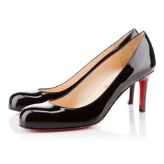 """The ever-graceful """"Simple Pump"""" is the shoe Monsieur Louboutin says every lady should have in her closet. Her round toe and sturdy stiletto heel make for a classic shape that glows from sunrise to sunset, and beyond. This 70mm version in black patent leather is a top choice for your collection."""