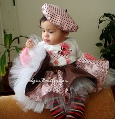 French Poodle Baby set - comes with:  poodle shirt- ballerina tulle skirt - French hat   https://www.etsy.com/listing/109710650/pageant-baby-paris-poodle-casual-wear