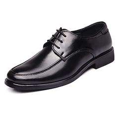 Mens Black Leatherette Low Heel Closed Toe Shoes
