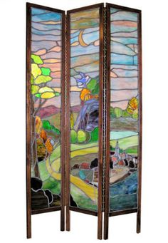 Antique Arts & Crafts Stained Glass Screen Room Divider in Antiques Tiffany Glass, Tiffany Stained Glass, Stained Glass Panels, Stained Glass Art, Mosaic Glass, Raku Pottery, Stained Glass Projects, Stained Glass Patterns, Art Diy