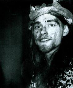 Kurt Cobain, Halloween, 1988. (Fake dried on his face)
