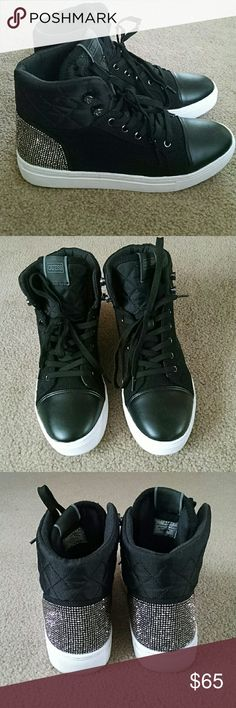 GUESS hightop sneakers size 8 Brand new never worn black quilted with rhinestones Guess Shoes Sneakers