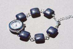 Lapis lazuli geometric bracelet watch, womens dark blue beaded watch, womens watch bracelet