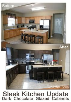 DIY cabinet update - makes a huge different in this kitchen! before and after chocolate brown kitchen rustoleum kit