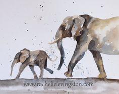 ORIGINAL painting watercolor painting original WATERCOLOR painting watercolor animal painting ELEPHANT painting art for nursery art kid blue