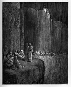 Purgatory: Dante and Virgil with Sapia and other envious souls. Creator: Doré, Gustave Date: c.1868