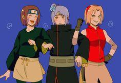 Rin, Konan and Sakura Naruto Teams, Naruto Comic, Sakura Uchiha, Naruto Uzumaki Shippuden, Anime Naruto, Anime Manga, Akatsuki, Karin Uzumaki, Konan