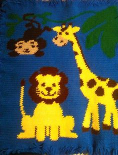 Jungle or Zoo Animal Baby Afghan by StaceesYarnBasket on Etsy, $45.00