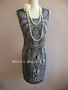 1920s Art Deco Gala Dream Roaring Vintage Look Flapper Sequins Deco Dress