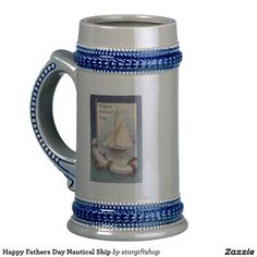 Happy Fathers Day Nautical Ship Beer Stein
