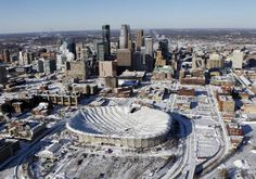 Over of freshly-fallen snow collapsed the roof of the Minneapolis Metrodome-home of the Minnesota Vikings. Minnesota Home, Minneapolis Minnesota, Minnesota Vikings, Vikings Stadium, White Bear Lake, Twin Cities, Great Places, San Francisco Skyline, Tours