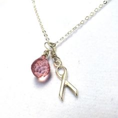 Breast cancer awareness necklace cancer jewelry by FelisaJewelry, $36.00