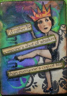 ATC Altered Playing Card I made while taking Mary Jane Chadbournes of Artful Gathering brilliant altered playing card class www.atozinnia.org