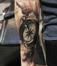 Realistic compass with map tattoo on  sleeve - 100 Awesome Compass Tattoo Designs  <3 <3