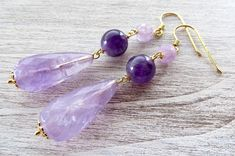 Amethyst earrings, lavender stone earrings, gold plated 925 sterling silver earrings, drop earrings, stone jewelry, wedding jewelry gioielli