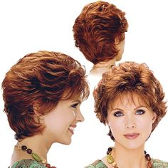 "Short Wavy (Red?) Feathered cut / full body / longer neckline. Bangs 4"" - Sides 4"" - Crown 4"" - Nape 4"""