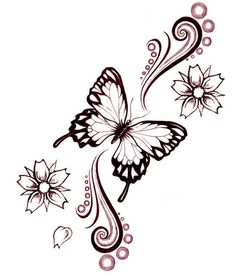 Flowers And Butterfly Tattoo Design Idea