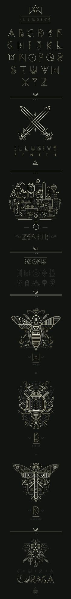 Illusive by Petros Afshar, via Behance    Flat Illustrative Style + Display Type