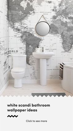 Create a stylish space with clean white wallpapers. The collection of white bathroom wallpaper can transform a dull space into something beautiful and. Modern Bathroom, Small Bathroom, White Bathroom, Modern Shower Curtains, Fabric Shower Curtains, White Wallpaper, Bathroom Wallpaper, Wallpaper Toilet, World Map Wallpaper