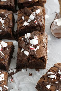 Thick and Fudgy Dark Chocolate Peppermint Mocha Brownies | girlversusdough.com @stephmwise