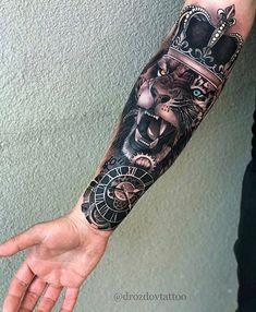 - only best tattoos - Artist Drozdov . 📣📢you want a shoutout? Lion Forearm Tattoos, Lion Head Tattoos, Forarm Tattoos, King Tattoos, Arm Tattoos For Guys, Tattoo Girls, Body Art Tattoos, Cool Tattoos, Tattos