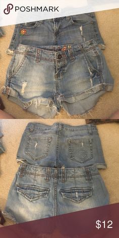 Jeans shorts! Two pairs of Mudd jean shorts! Top pair are a size 3 and bottom pair are a size 1. they have both been worn a decent amount but are in great condition! Mudd Shorts Jean Shorts