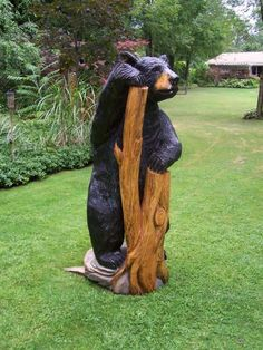 Black bear standing on a stump - Carvings by Scott, a Michigan Chainsaw Carver