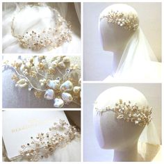 Hermione Harbutt bespoke Heidi garland with champagne tone Swarovski crystals. https://www.hermioneharbutt.com/wedding/hair_accessories/buy.php?Product=338&Title=Heidi+Garland
