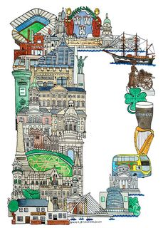 Dublin - ABC illustration series of European cities by Japanese illustrator Hugo Yoshikawa