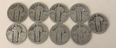 LOT OF 9 US STANDING LIBERTY QUARTER DOLLAR (1916-1930) NO DATE LOT 4