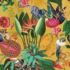 This Wonderland Tropical Wallpaper features animals and birds in quirky attire set amongst tropical foliage and flowers in vibrant tones on an ochre background Wallpaper Paste, Paper Wallpaper, Adhesive Wallpaper, Animal Wallpaper, Quirky Wallpaper, Hallway Wallpaper, Metallic Wallpaper, Tropical Animals, Colorful Animals